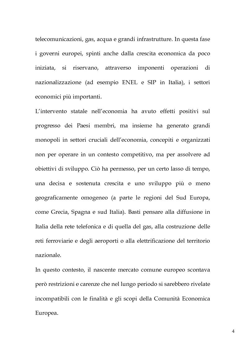 Anteprima della tesi: L'art. 86 del Trattato Ce e la liberalizzazione dei servizi pubblici in Europa, Pagina 7