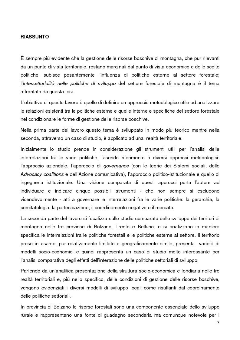 Anteprima della tesi: La gestione dell'intersettorialità nelle politiche di sviluppo del settore forestale di montagna, Pagina 1