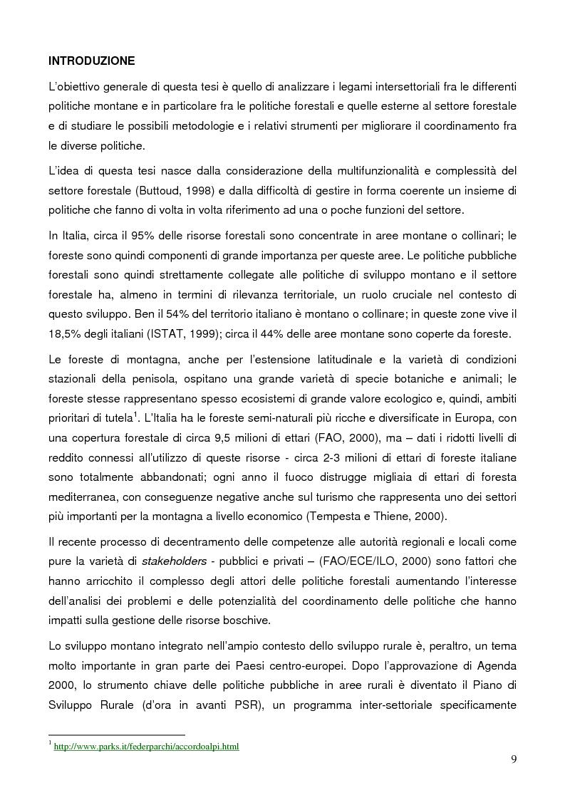Anteprima della tesi: La gestione dell'intersettorialità nelle politiche di sviluppo del settore forestale di montagna, Pagina 7