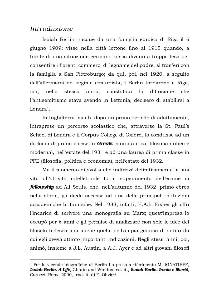 Anteprima della tesi: Isaiah Berlin: idee di libertà, Pagina 1