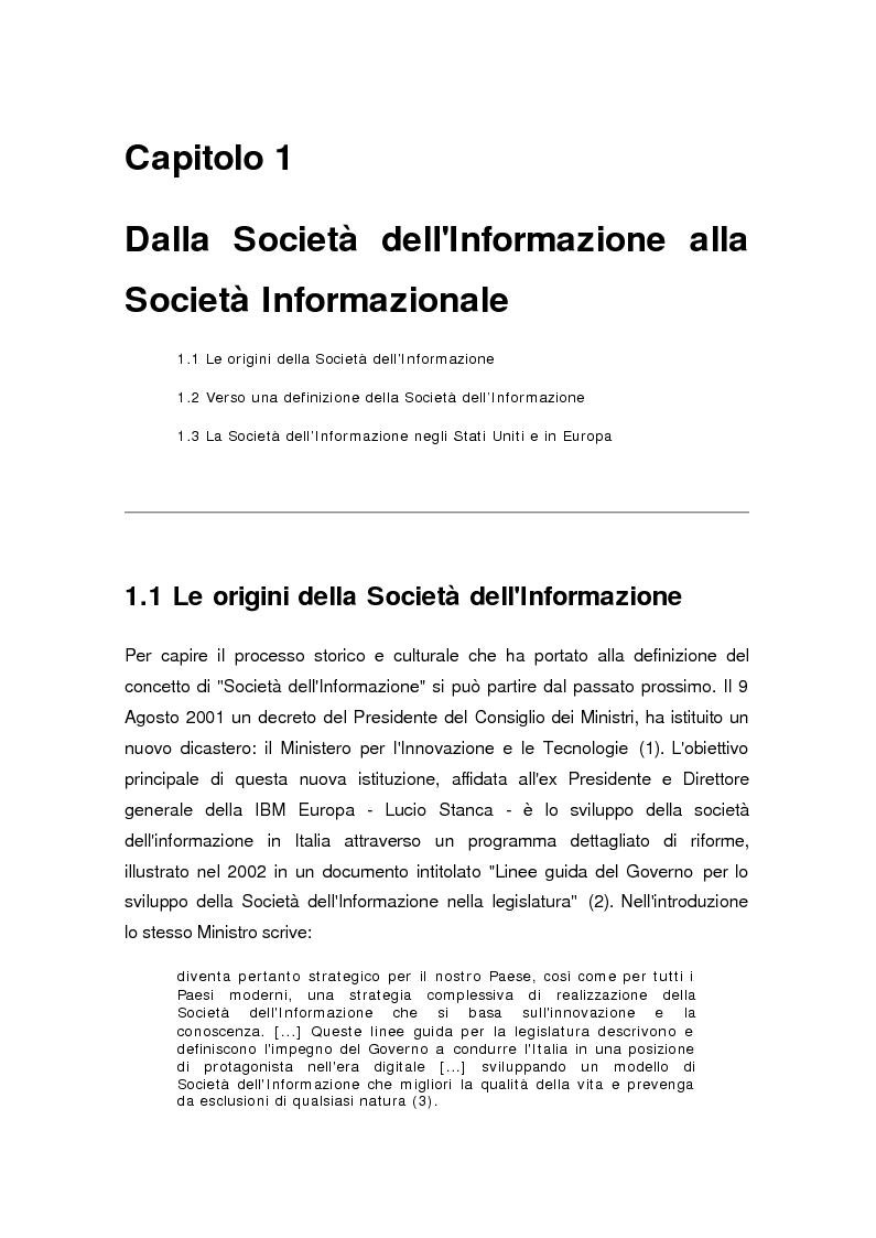 Anteprima della tesi: La società dell'informazione, Pagina 4