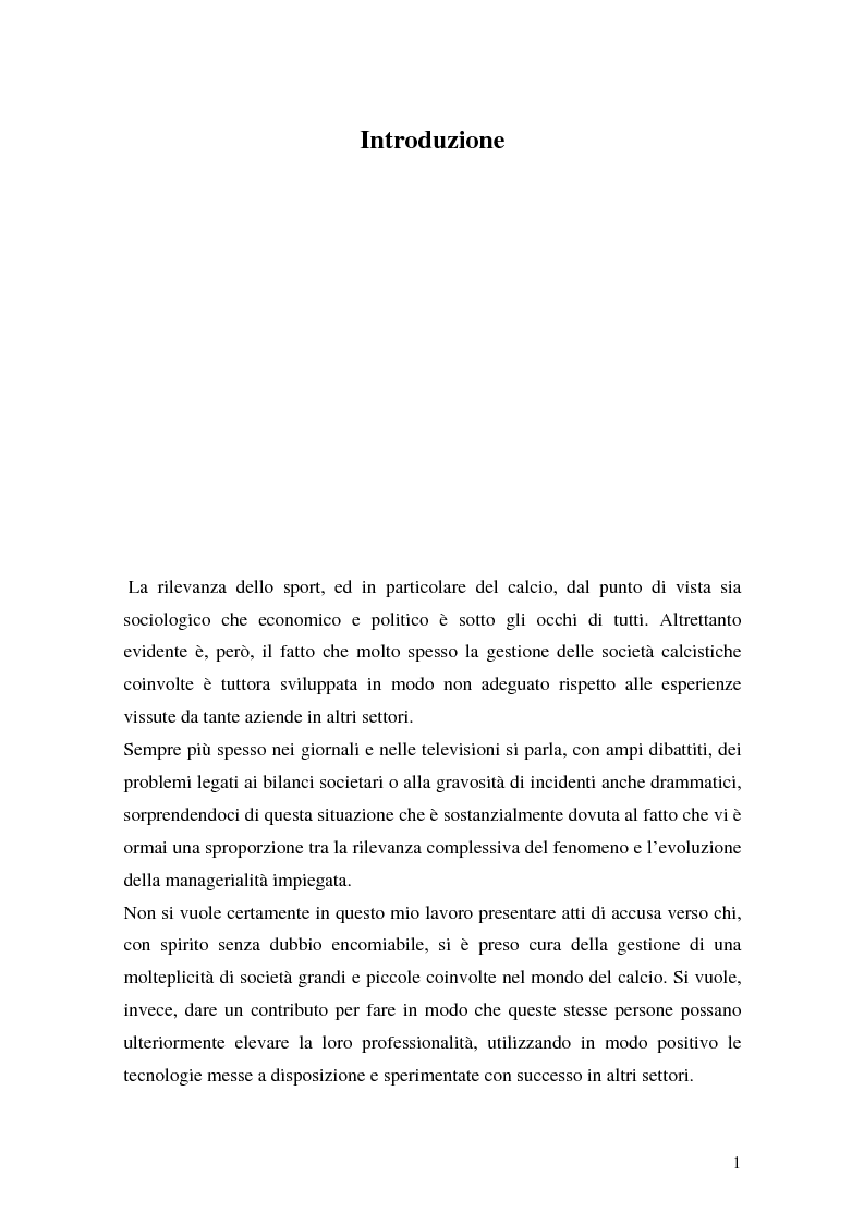 Anteprima della tesi: Il marketing delle società di calcio del 2000: analisi, strategie e scenari futuri, Pagina 1