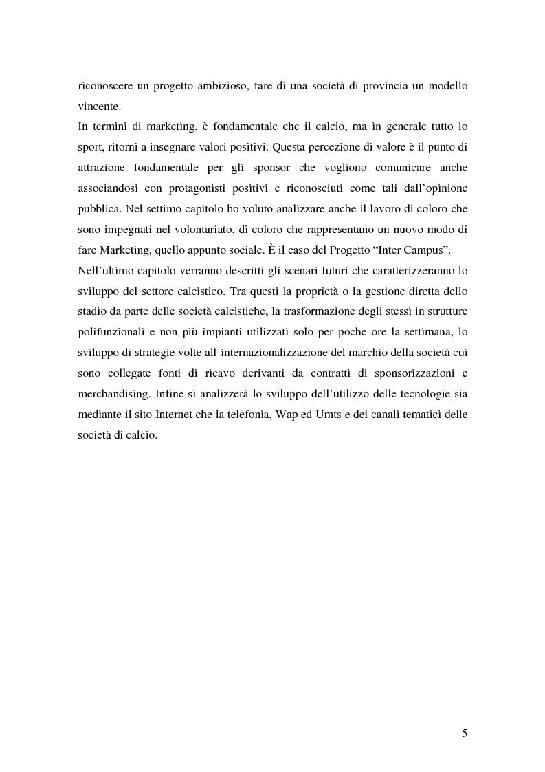 Anteprima della tesi: Il marketing delle società di calcio del 2000: analisi, strategie e scenari futuri, Pagina 5