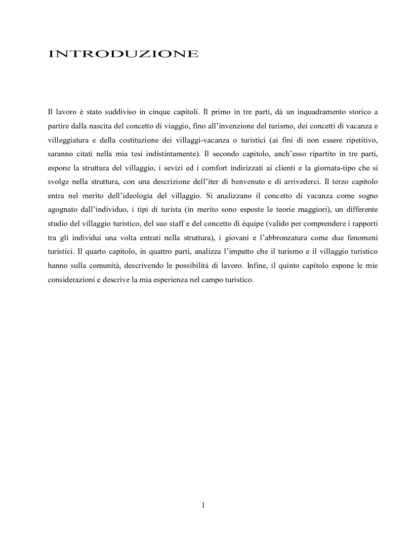 Anteprima della tesi: I villaggi turistici come forma di integrazione sociale, Pagina 1