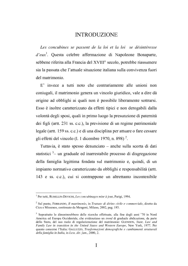 Anteprima della tesi: L'autonomia tra conviventi, Pagina 1