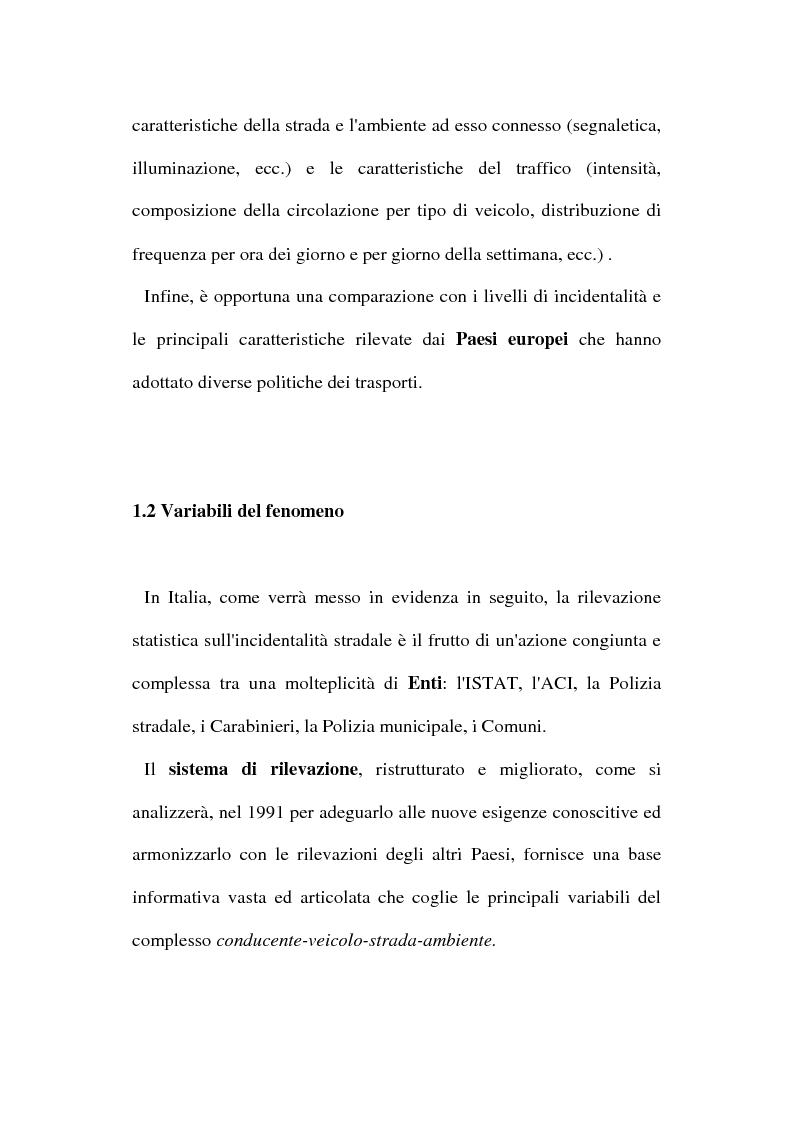 Anteprima della tesi: Gli incidenti stradali nel periodo 1989-1998: aspetti sociali ed economici, Pagina 8