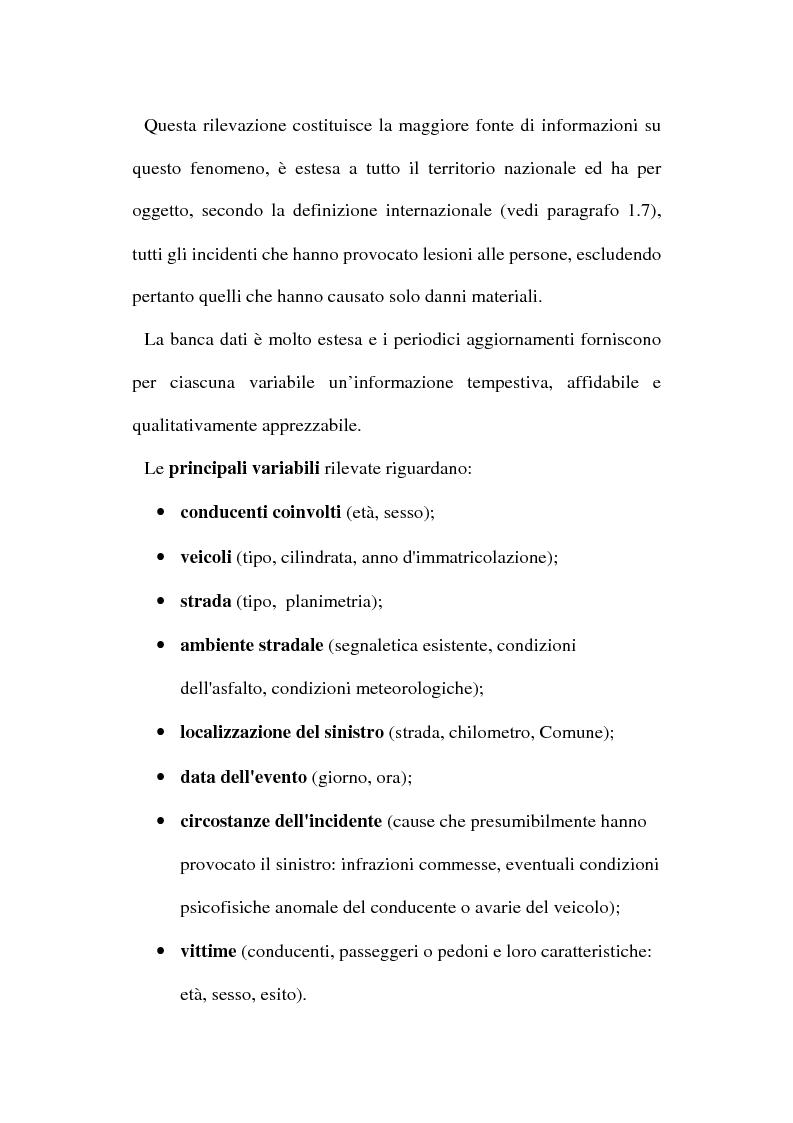 Anteprima della tesi: Gli incidenti stradali nel periodo 1989-1998: aspetti sociali ed economici, Pagina 9