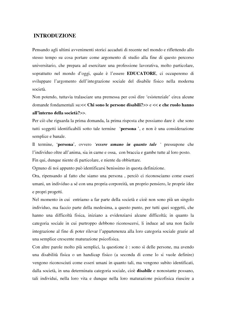 Anteprima della tesi: Integrazione sociale: multimedialità e teatro nel mondo del disabile fisico, Pagina 1