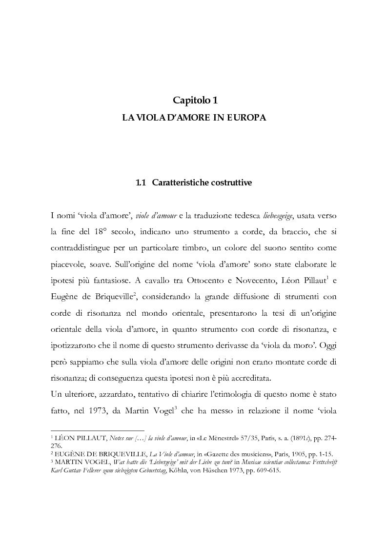 Anteprima della tesi: I musicisti italiani e la viola d'amore nella prima metà del Settecento, Pagina 1