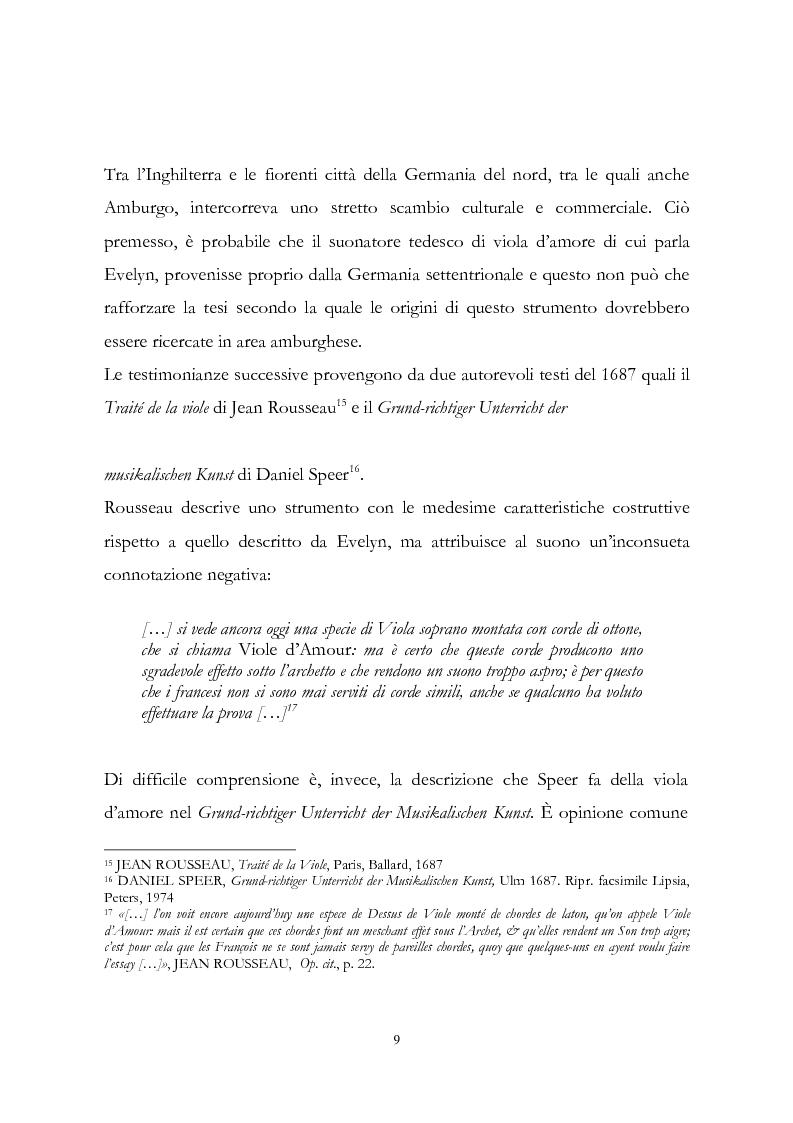 Anteprima della tesi: I musicisti italiani e la viola d'amore nella prima metà del Settecento, Pagina 9