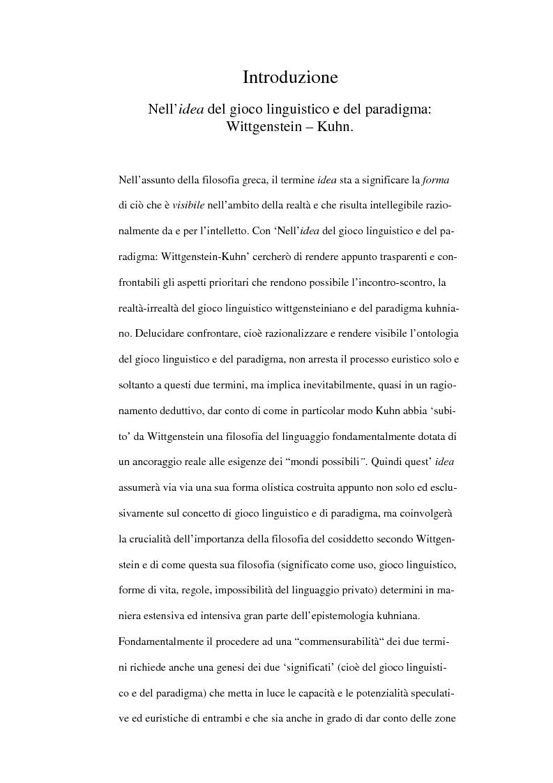 Anteprima della tesi: Nella 'idea' del gioco linguistico e del paradigma: Wittgenstein-Kuhn, Pagina 1