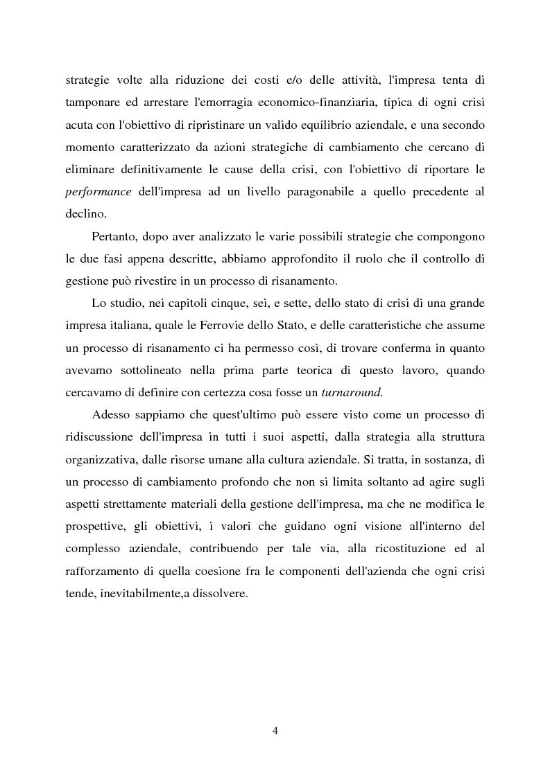 Anteprima della tesi: Crisi d'impresa e strategie di risanamento aziendale: il turnaround delle Ferrovie dello Stato, Pagina 3