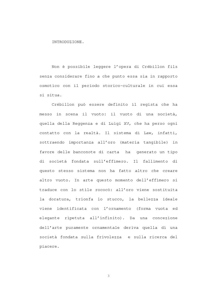 Anteprima della tesi: Strutture narrative di alcuni romanzi di Crébillon Fils, Pagina 1