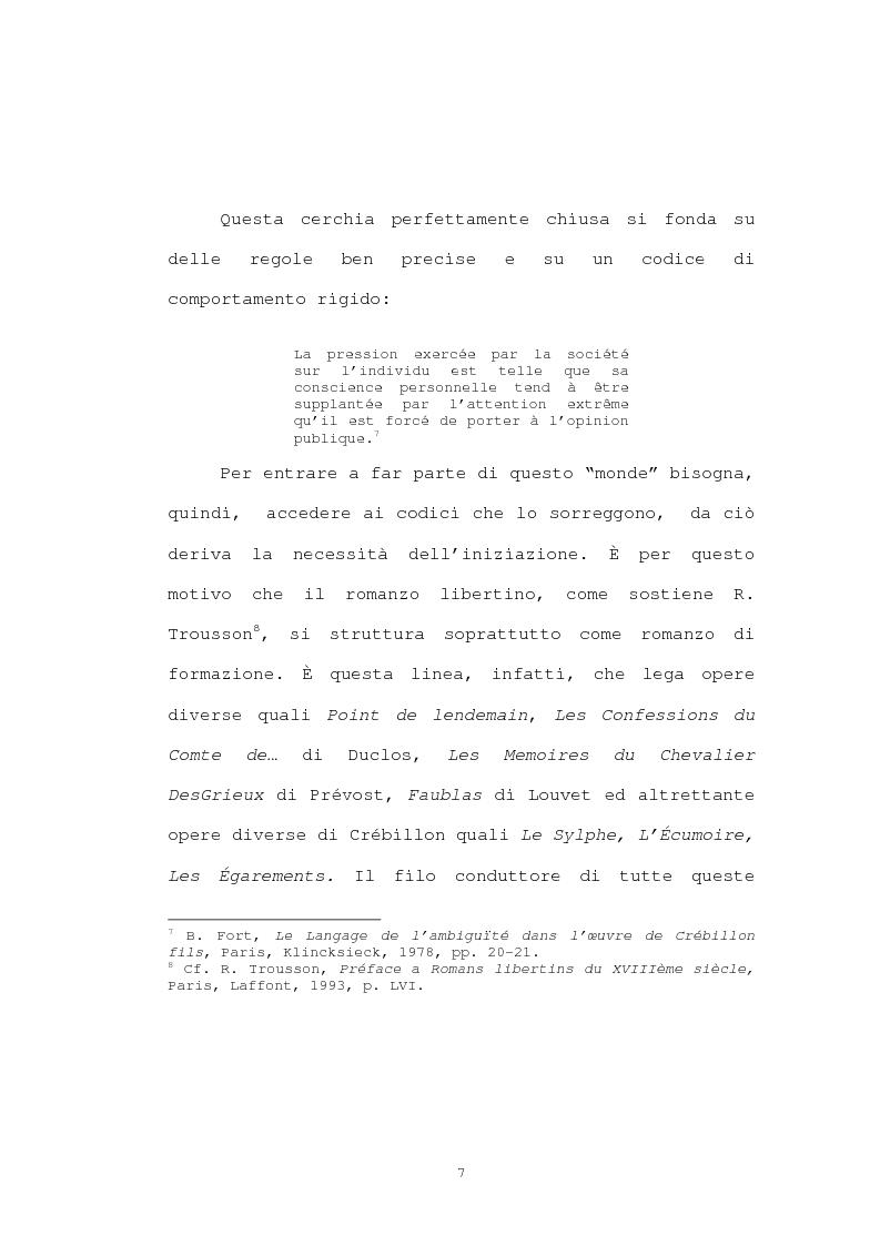 Anteprima della tesi: Strutture narrative di alcuni romanzi di Crébillon Fils, Pagina 5