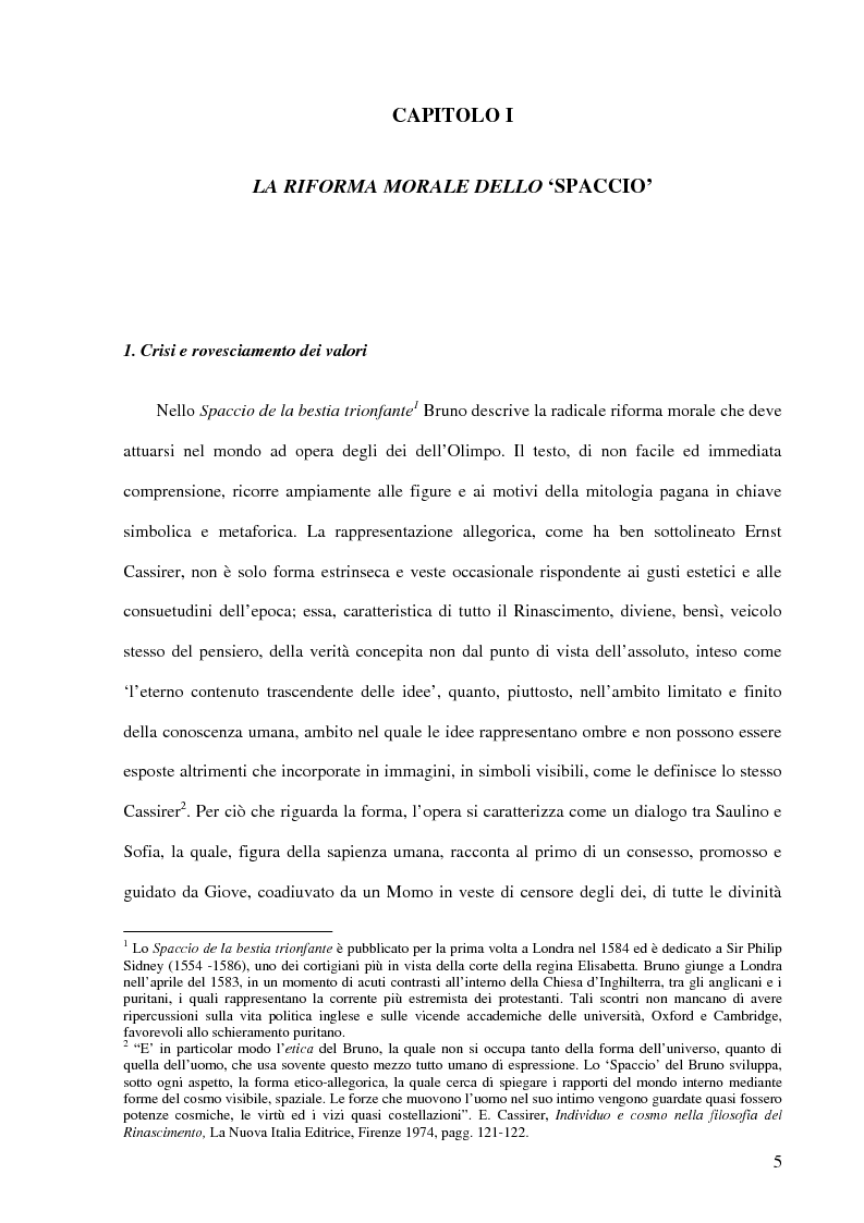 Anteprima della tesi: Ontologia e antropologia in Giordano Bruno, Pagina 1