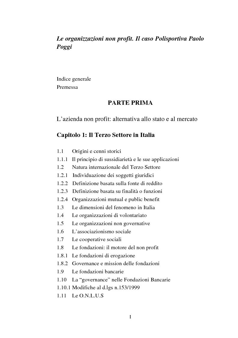 Indice della tesi: Le organizzazioni non profit. Il caso polisportiva Paolo Poggi, Pagina 1
