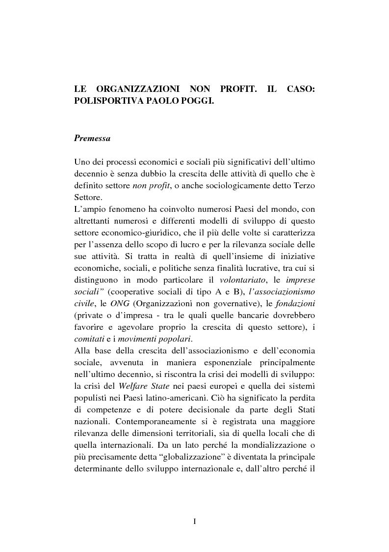 Anteprima della tesi: Le organizzazioni non profit. Il caso polisportiva Paolo Poggi, Pagina 1