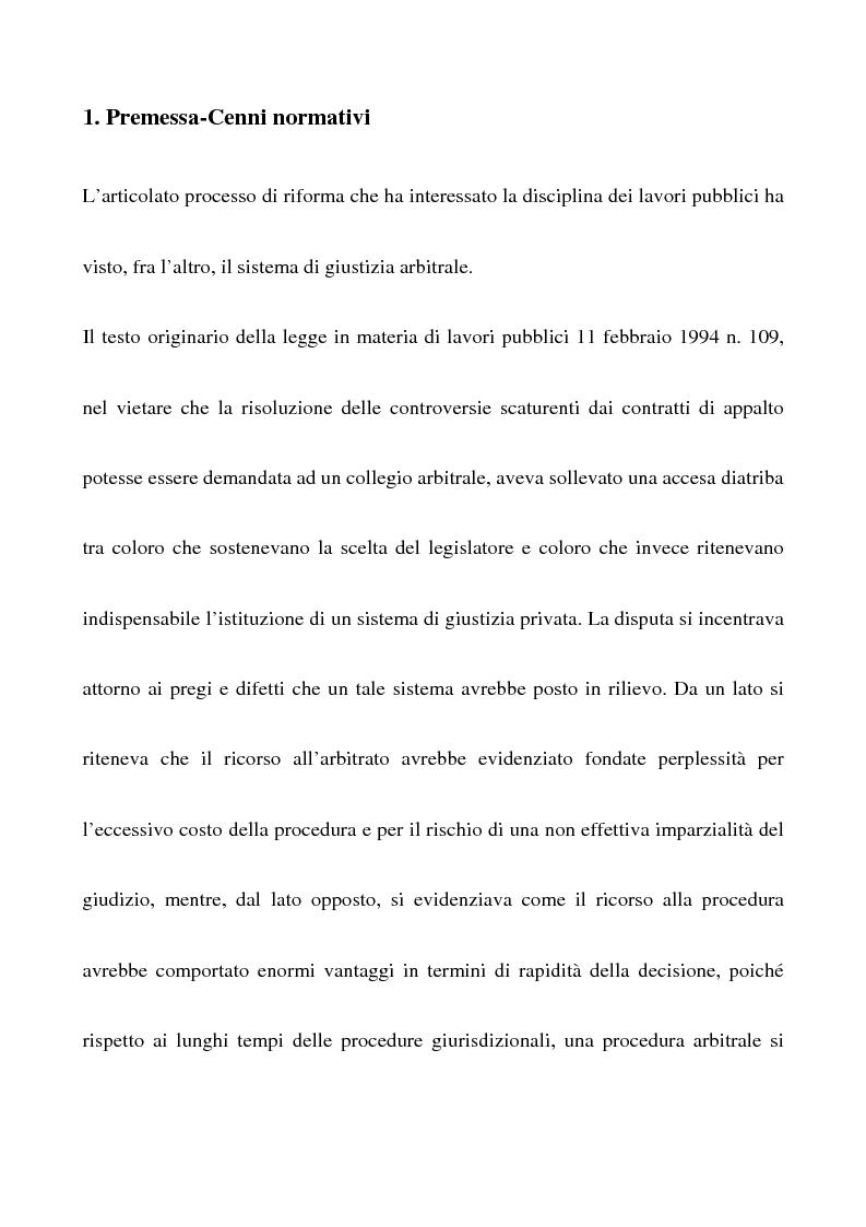 Anteprima della tesi: Il nuovo sistema di giustizia arbitrale in materia di lavori pubblici, Pagina 1