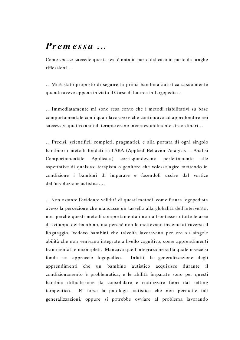 Anteprima della tesi: Il ruolo della logopedia nella riabilitazione del bambino autistico, Pagina 1