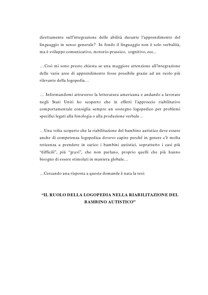 Anteprima della tesi: Il ruolo della logopedia nella riabilitazione del bambino autistico, Pagina 2