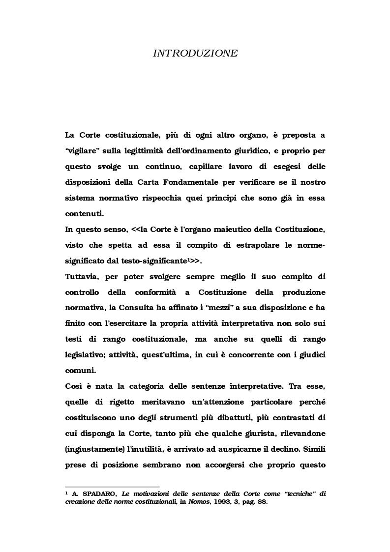 Anteprima della tesi: Le metamorfosi delle sentenze interpretative di rigetto, Pagina 1