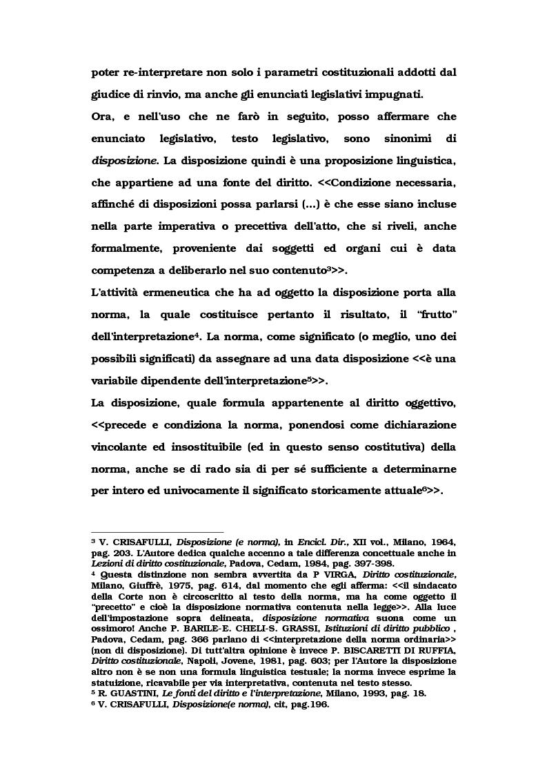 Anteprima della tesi: Le metamorfosi delle sentenze interpretative di rigetto, Pagina 5