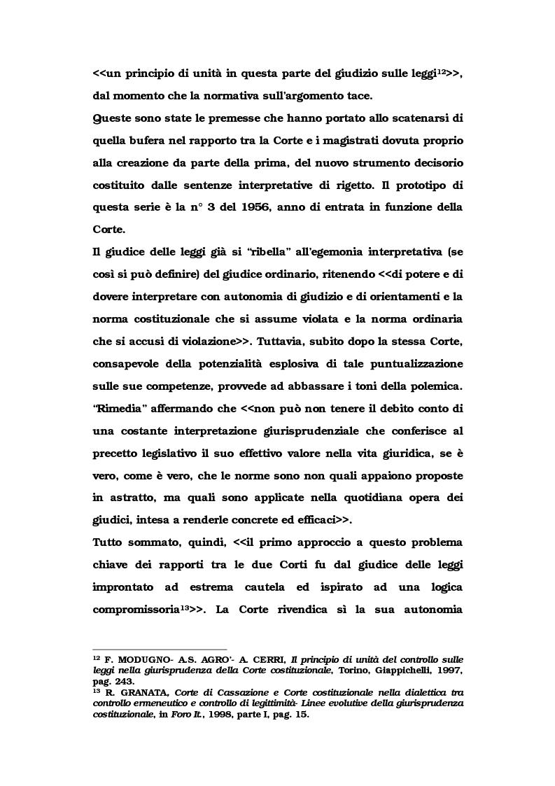 Anteprima della tesi: Le metamorfosi delle sentenze interpretative di rigetto, Pagina 8