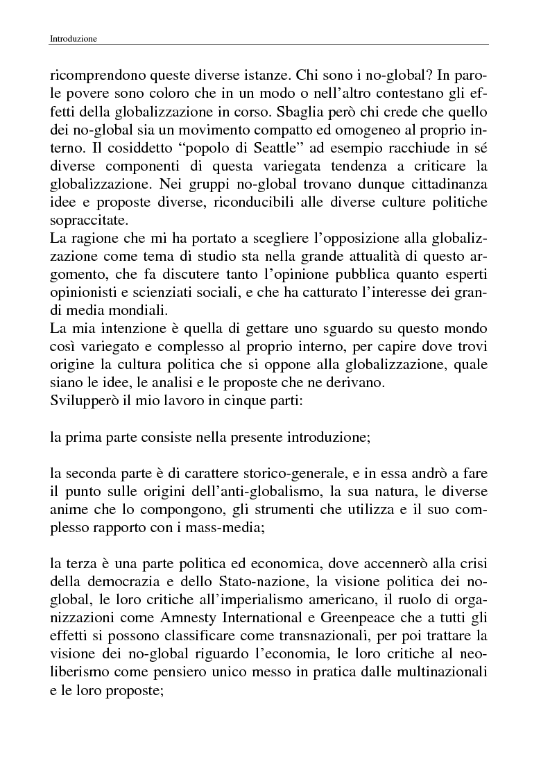 Anteprima della tesi: I movimenti no-global: natura, idee, evoluzione, Pagina 2