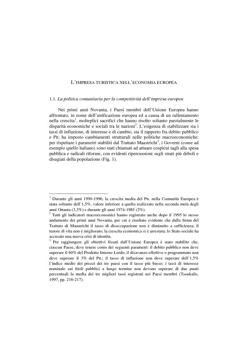 Anteprima della tesi: La politica per l'impresa turistica nell'economia europea tra innovazione tecnologica e nuove professionalità, Pagina 1