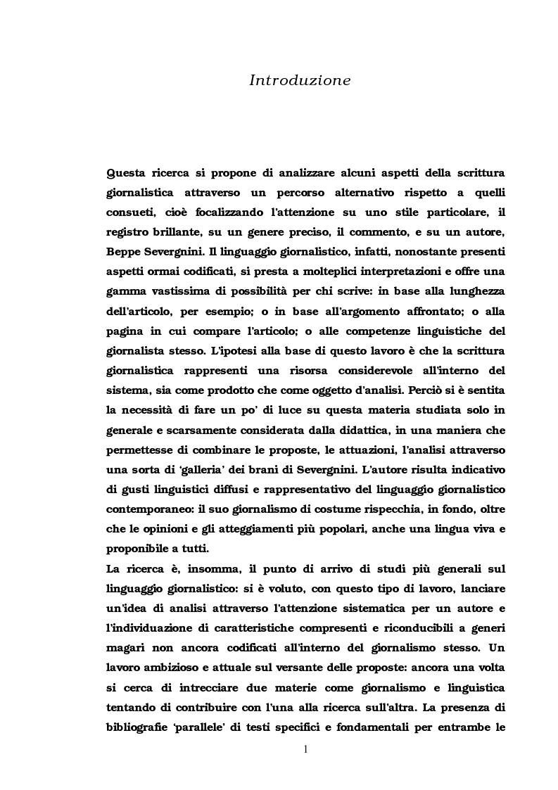 Anteprima della tesi: Il commento giornalistico: uno sguardo alla scrittura di Beppe Severgnini, Pagina 1