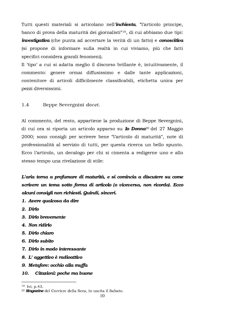Anteprima della tesi: Il commento giornalistico: uno sguardo alla scrittura di Beppe Severgnini, Pagina 10