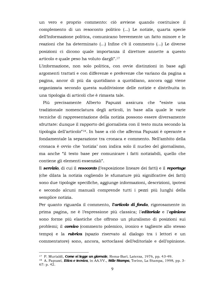 Anteprima della tesi: Il commento giornalistico: uno sguardo alla scrittura di Beppe Severgnini, Pagina 9