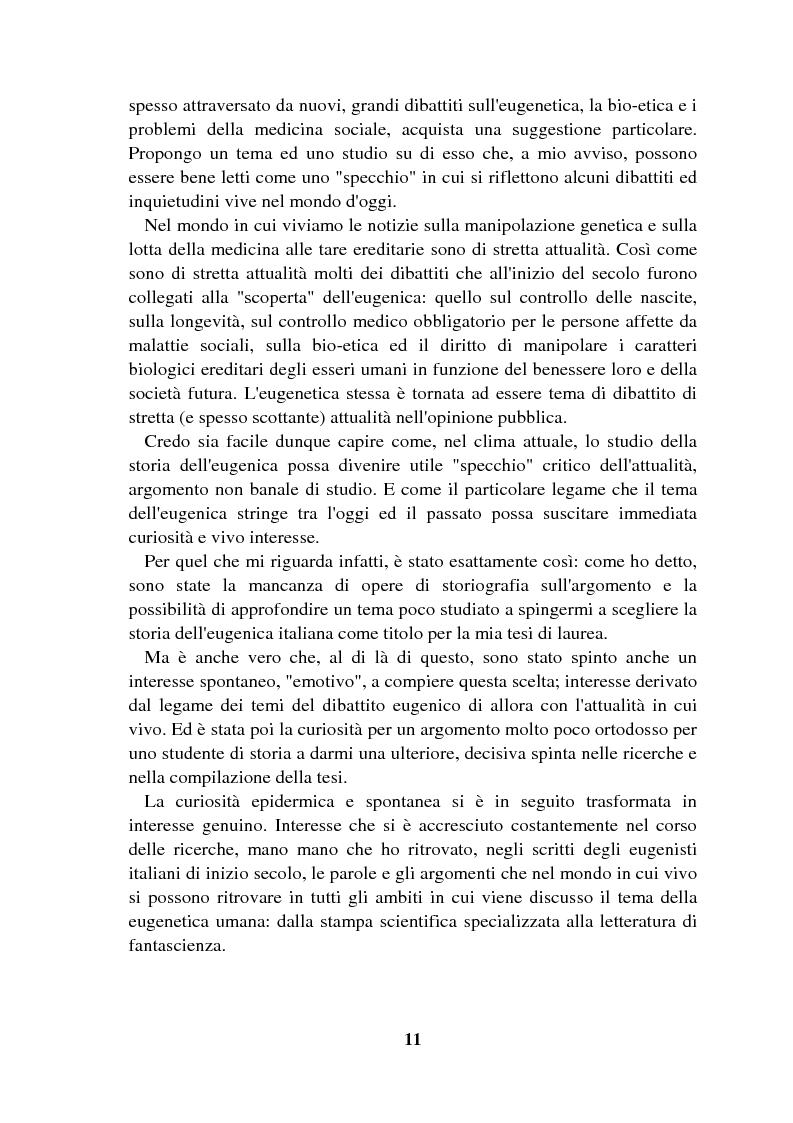 Anteprima della tesi: Origini controllate: l'eugenetica in Italia 1900-1924, Pagina 10