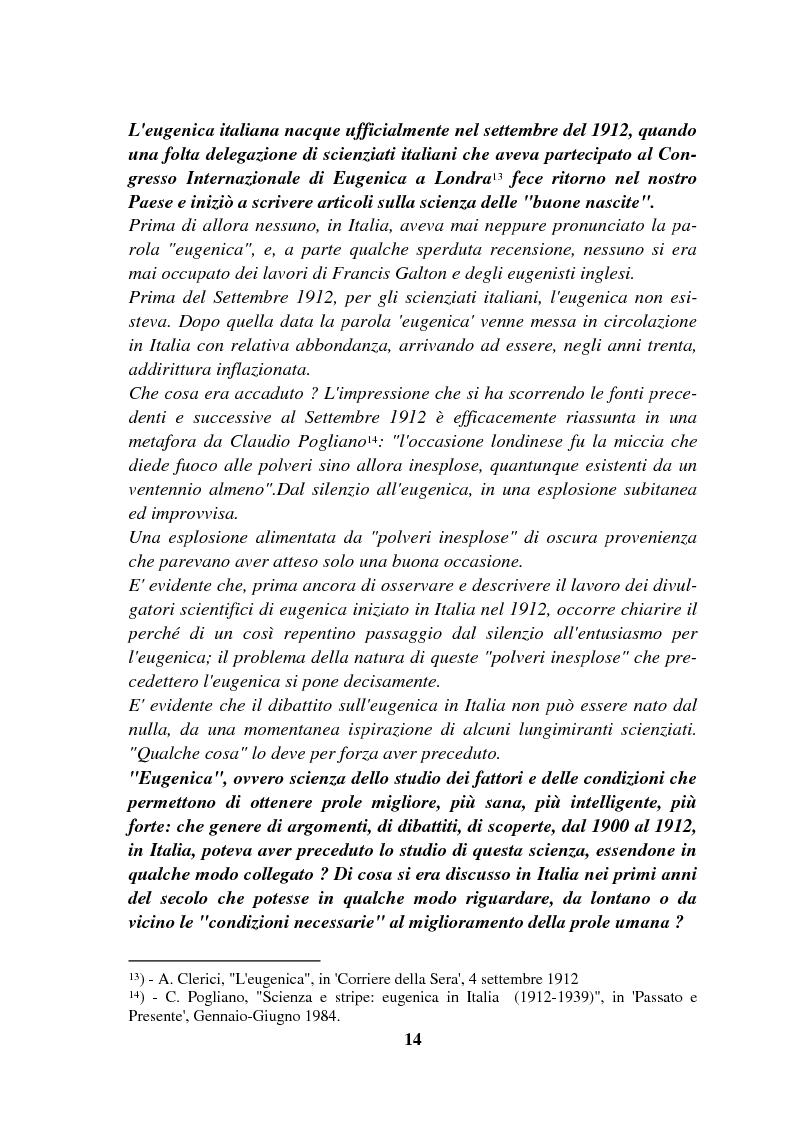 Anteprima della tesi: Origini controllate: l'eugenetica in Italia 1900-1924, Pagina 13