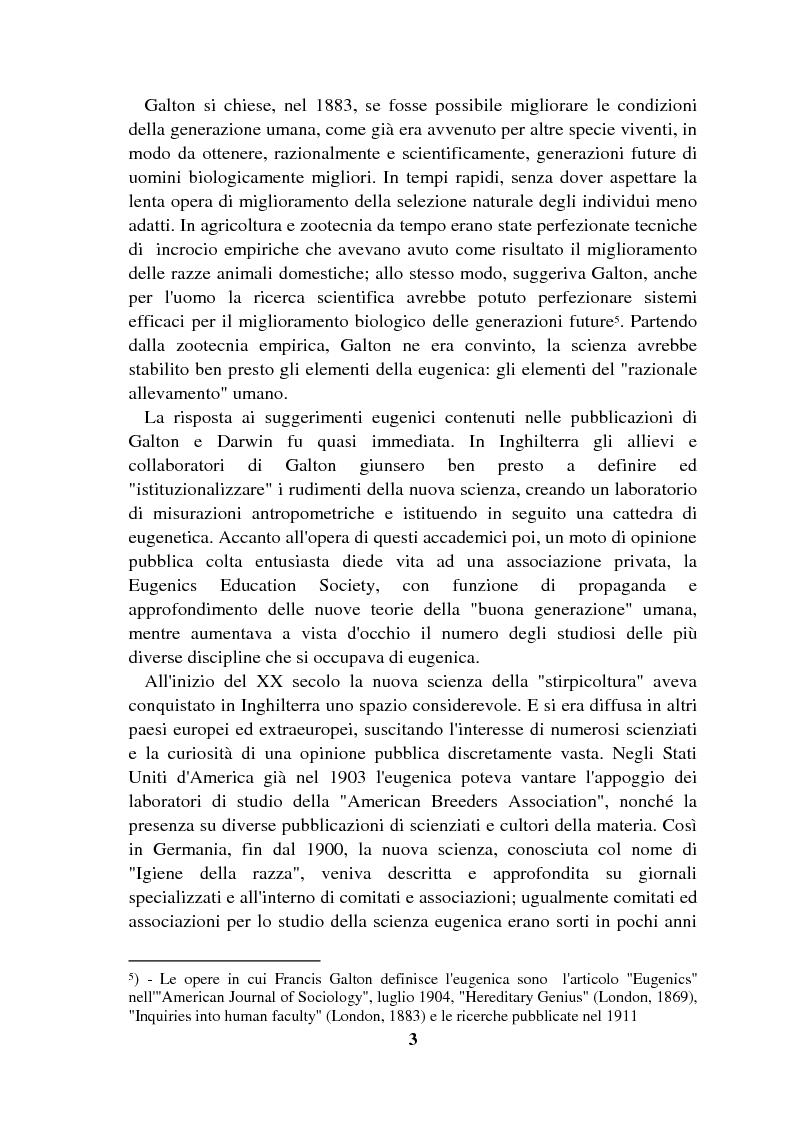 Anteprima della tesi: Origini controllate: l'eugenetica in Italia 1900-1924, Pagina 2