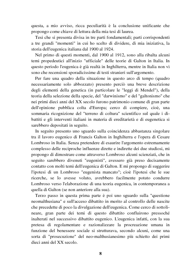 Anteprima della tesi: Origini controllate: l'eugenetica in Italia 1900-1924, Pagina 7