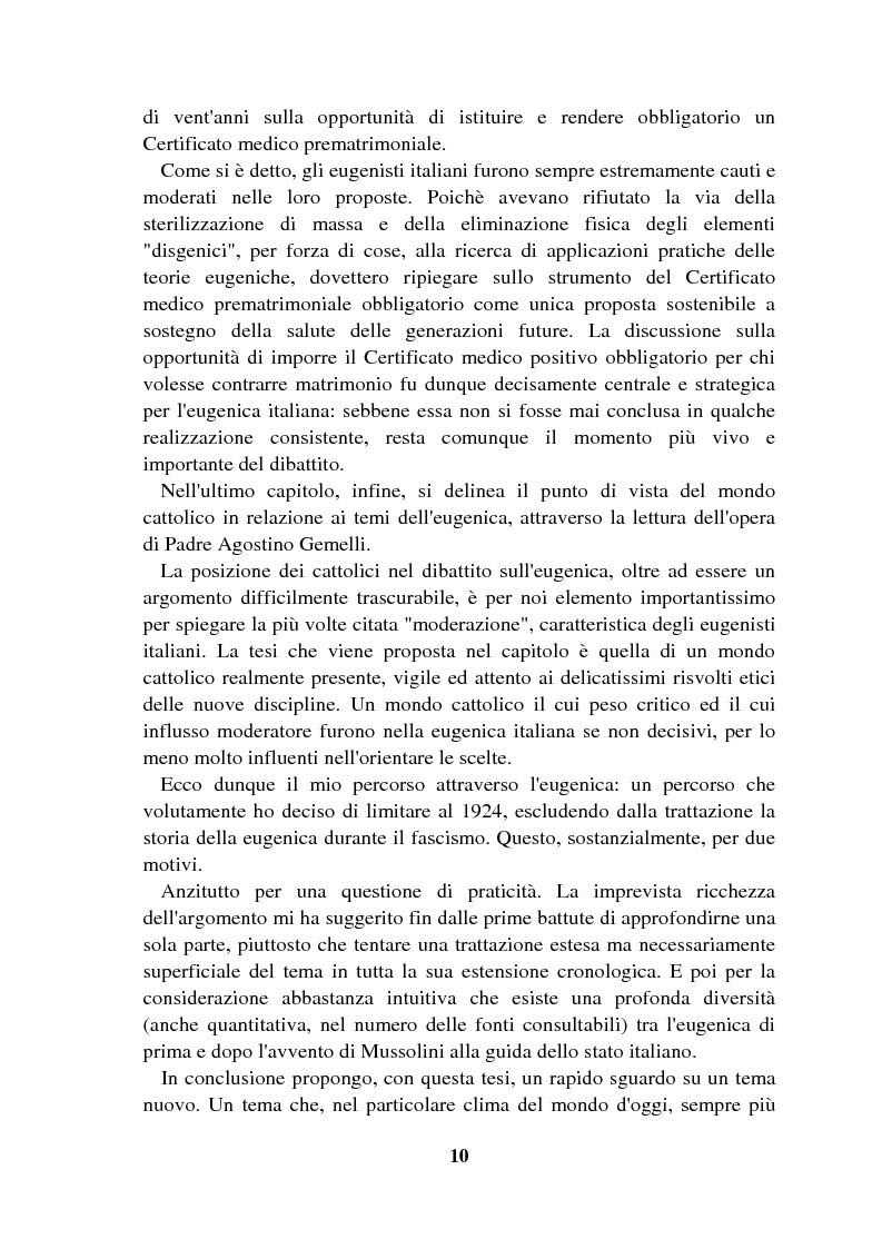 Anteprima della tesi: Origini controllate: l'eugenetica in Italia 1900-1924, Pagina 9