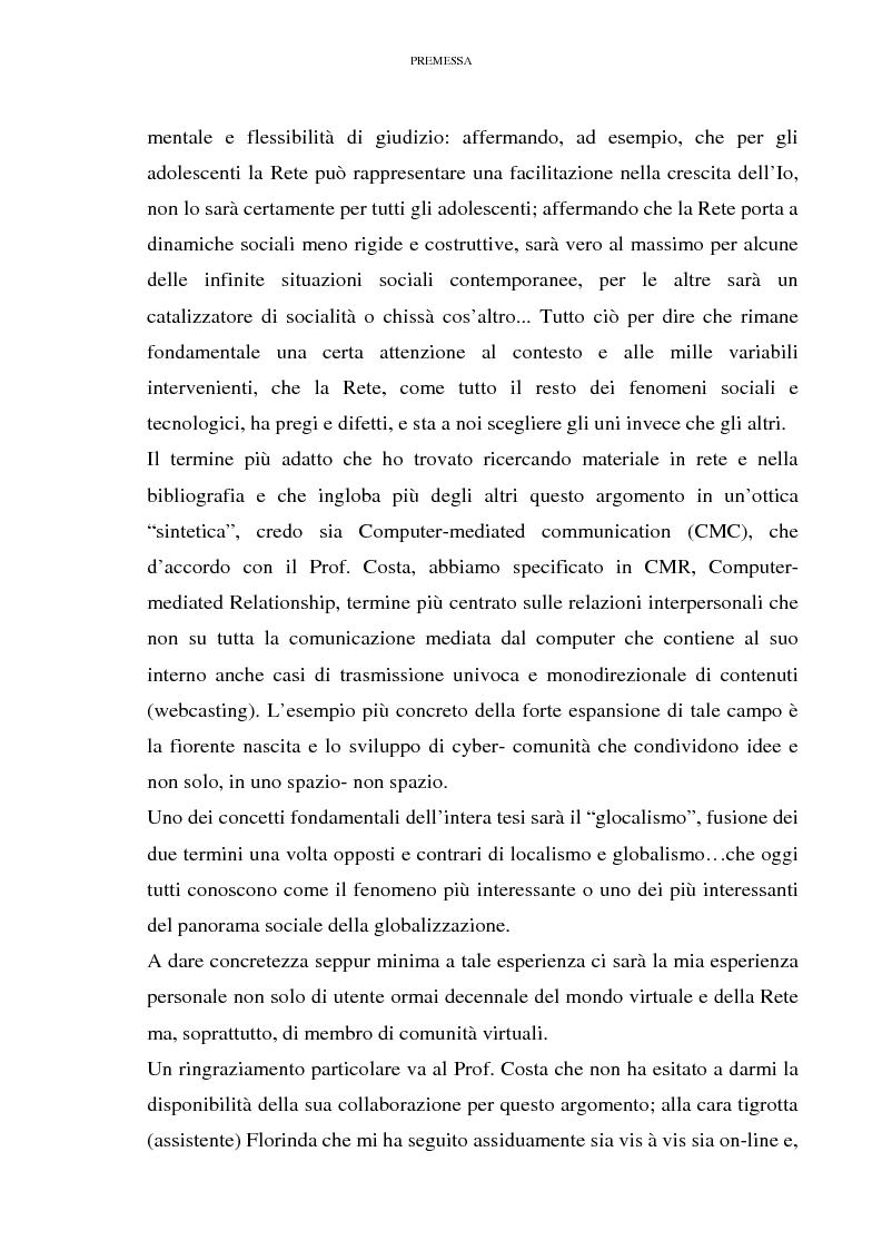 Anteprima della tesi: Relazioni sociali mediate dal computer: esaltazione ed emancipazione delle diversità nell'era della globalizzazione, Pagina 5
