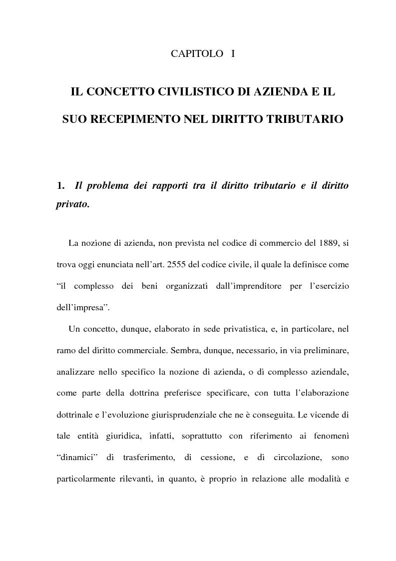 La cessione di azienda nel diritto tributario - Tesi di Laurea