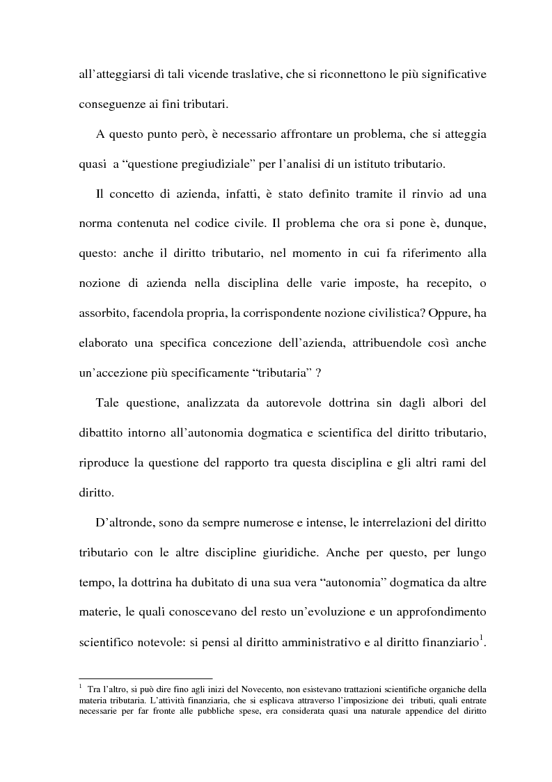 Anteprima della tesi: La cessione di azienda nel diritto tributario, Pagina 2