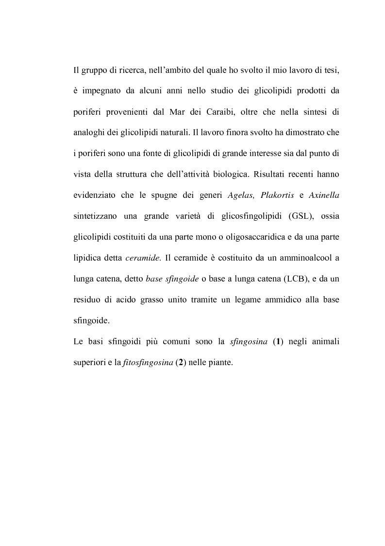 Anteprima della tesi: Glicosfingolipidi immunomodulanti: sintesi stereoselettiva di analoghi dell'agelasfina, Pagina 2