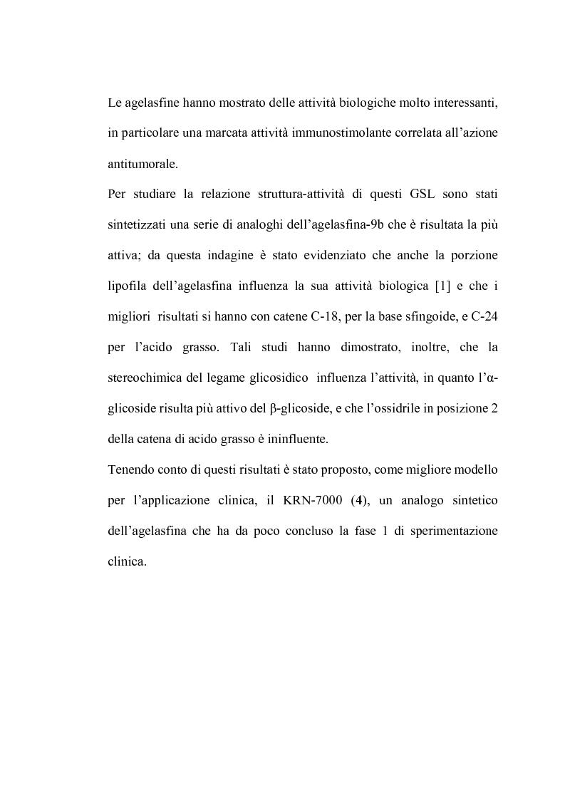 Anteprima della tesi: Glicosfingolipidi immunomodulanti: sintesi stereoselettiva di analoghi dell'agelasfina, Pagina 5