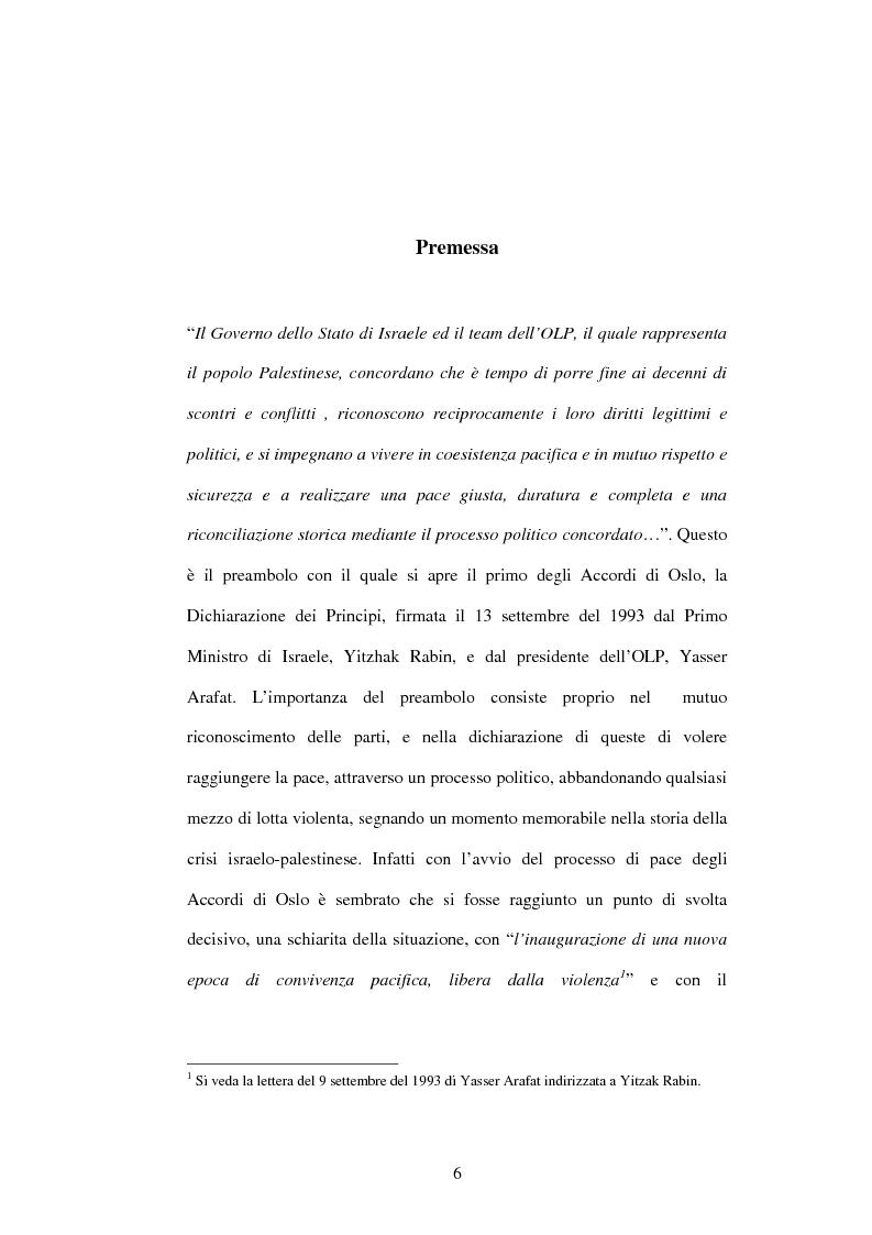 Anteprima della tesi: I recenti sviluppi della crisi israelo-palestinese alla luce del diritto internazionale, Pagina 1