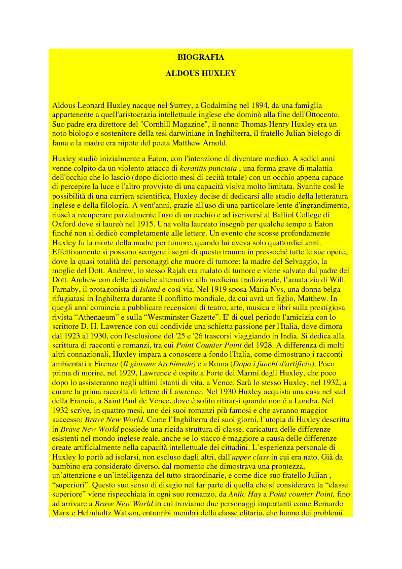 Anteprima della tesi: Il pensiero politico di Aldous Huxley, Pagina 4