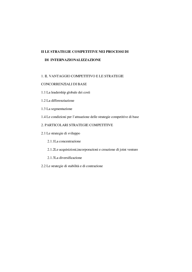 Indice della tesi: Dinamiche competitive e processi di internazionalizzazione. Il caso Serpone, Pagina 2