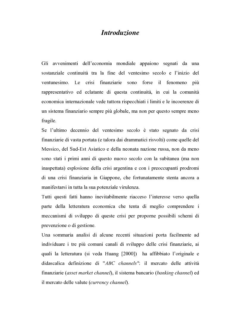 Anteprima della tesi: Rischio sistemico e crisi finanziarie: il ruolo della liquidità e del sistema interbancario, Pagina 1