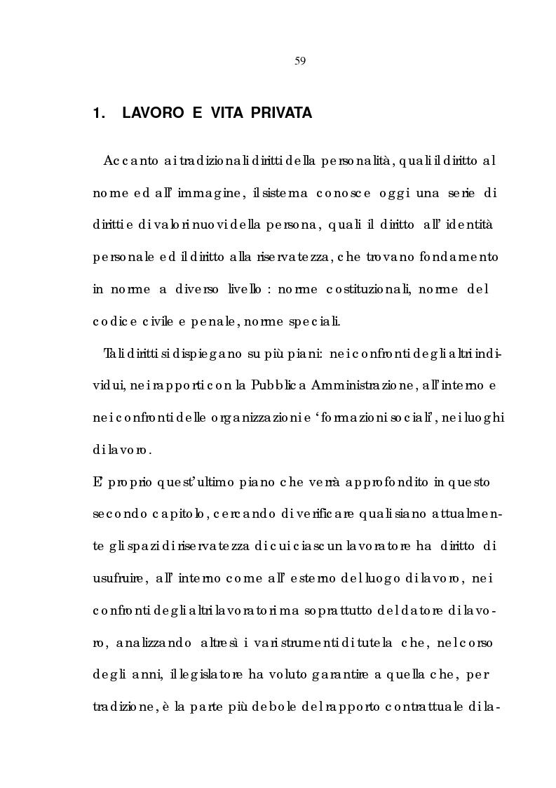 Anteprima della tesi: La tutela della riservatezza nel rapporto di lavoro, Pagina 1