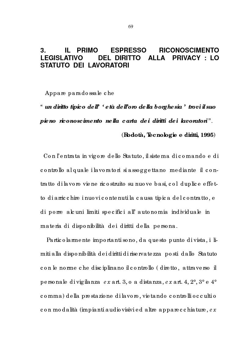 Anteprima della tesi: La tutela della riservatezza nel rapporto di lavoro, Pagina 11