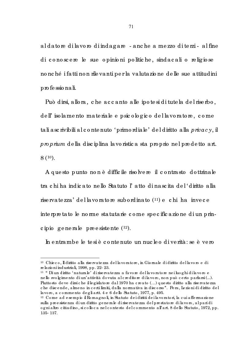 Anteprima della tesi: La tutela della riservatezza nel rapporto di lavoro, Pagina 13