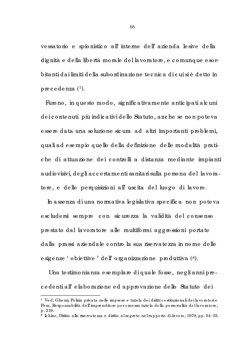 Anteprima della tesi: La tutela della riservatezza nel rapporto di lavoro, Pagina 8